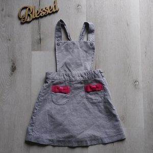 Janie and Jack overalls dress gray pink bows